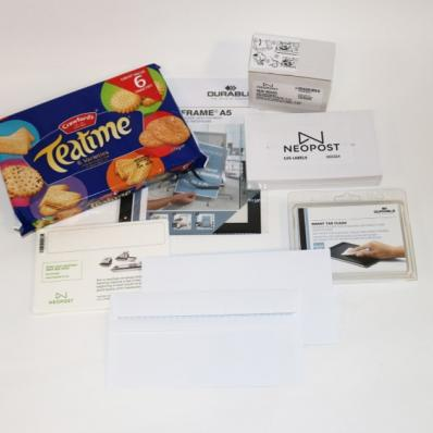 Ink cartridge, labels, DL self seal envelopes, Neoclean, Durable screen cleaner, biscuits